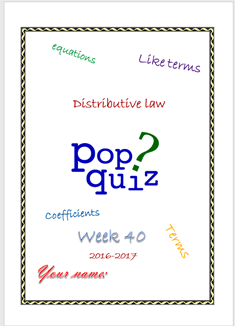 Assessment L. Equations (Week 40 - MYP3 //16-17)