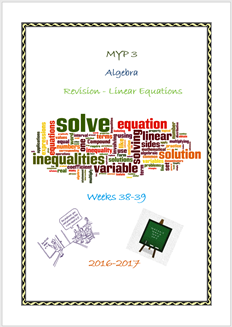 L. Equations Revision (Week 39 - MYP3 //16-17)